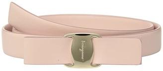 Salvatore Ferragamo Vara Leather Buckle Belt w/ Bow (Bonbon) Women's Belts