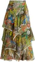 Peter Pilotto Asymmetric floral-print silk-georgette skirt