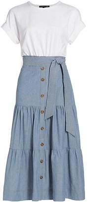 Veronica Beard Emmitt Mixed-Media Midi Dress