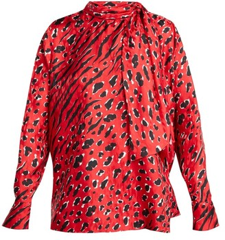 Valentino Leopard And Tiger-print Silk Blouse - Red Print