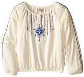 Lucky Brand Kids - Long Sleeve Peasant Top with Lurex and Embroidery Girl's Clothing