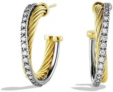 David Yurman Crossover Small Hoop Earrings with Diamonds in Gold