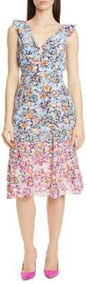 Saloni Holly Floral Print Silk A-Line Dress