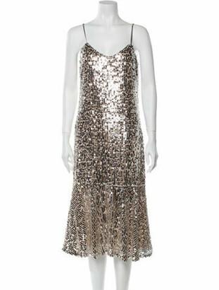 Veronica Beard Sequined Midi Dress Champagne