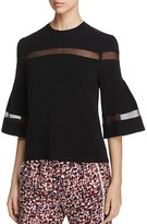DKNY Mesh-Inset Bell Sleeve Top