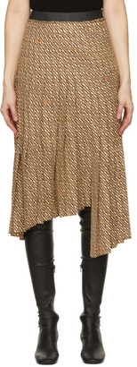 System Beige and Brown Asymmetric Pleat Skirt