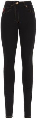 Versace Rose Embroidered Skinny Leg Jeans