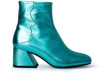Unreal Fields Galaxy - Emerald Green Metallic Mid Heel Boots