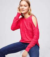 LOFT Petite Spacedye Cold Shoulder Sweater