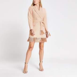 River Island Womens Petite Pink tassel fringe blazer dress