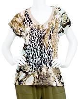 Studio Women's Knit V-Neck Hi-Lo Hem Tee