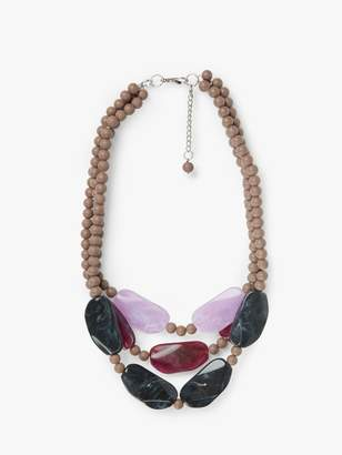 One Button Chunky Bead Triple Row Layered Statement Necklace