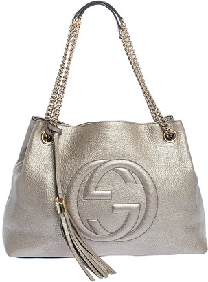 Gucci Metallic Gold Leather Medium Soho Tote