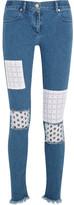 House of Holland Appliquéd Mid-rise Skinny Jeans - Mid denim