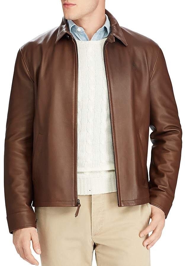 Polo Ralph Lauren Maxwell Lambskin Leather Zip Jacket