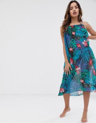 Vero Moda palm print square neck mini beach dress
