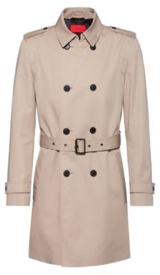 HUGO Slim-fit trench coat with water-repellent finish