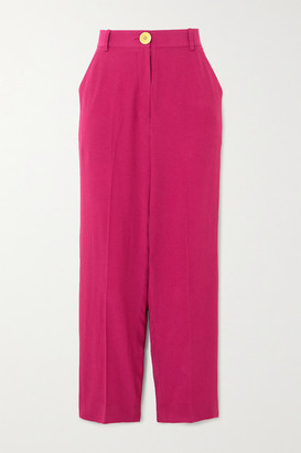 Bouguessa Cropped Crepe Straight-leg Pants - Magenta