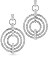 Alor Micro-Cable Pave Diamond Circle Drop Earrings, Gray