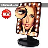 Makeup Mirror with Lights , LED Lighted Movable Vanity Mirror 22 Bright LEDs 10X Magnification Large Screen Touch Dimmable with Memory Function Lighted Illuminated