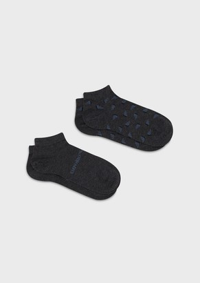 Emporio Armani Two-Pack Of All-Over Eagle Trainer Socks