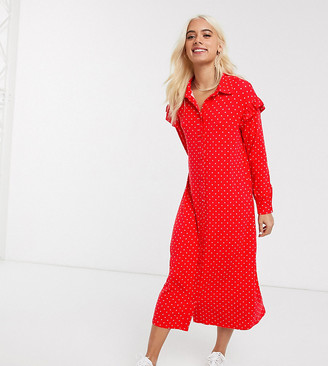 Asos DESIGN Petite shirt maxi dress in red and white spot