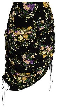 For Love & Lemons Molly Floral Drawstring Asymmetric Pencil Skirt