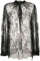 Alexander McQueen sheer lace blouse - women - Cotton/Polyamide - 40