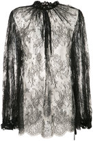 Alexander McQueen sheer lace blouse - women - Cotton/Polyamide - 42