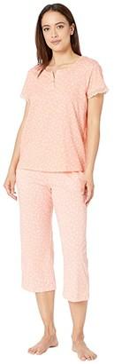 Karen Neuburger Petite Island Breeze Short Sleeve Henley Capris PJ (Geo Apricot Blush) Women's Pajama Sets