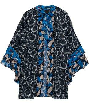 Anna Sui Pussy-bow Printed Georgette-trimmed Fil Coupe Silk Kimono