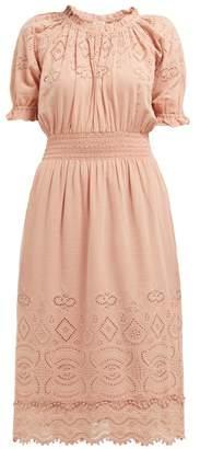 Sea Naomie Broderie Anglaise Midi Dress - Womens - Light Pink