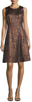 Lafayette 148 New York Sleeveless Brocade Zip-Front Dress