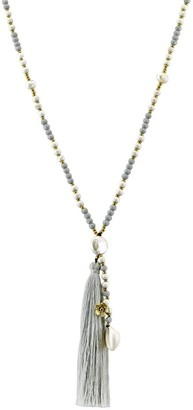 Aeravida Handmade Breezy & Chic Grey Tassel w/ Stone & Shell Beaded Long Necklace