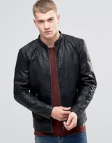 Jack and Jones Faux Leather Jacket with Stitch Shoulder Panel