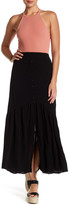 Hip Button Front Maxi Skirt