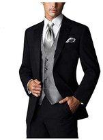 MYRSYMYS Men's British Style Three-piece Peak Lapel Wedding Dress Suit