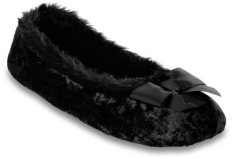 Isotoner Women's Kristina Iridescent Velour Ballerina Slippers