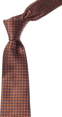 Canali Orange & Blue Floral Silk Tie
