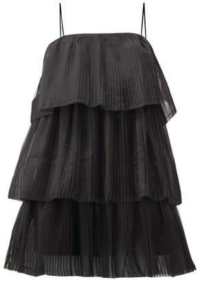 Aje Salt Lake Plisse-organza Mini Dress - Black