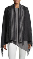 Eileen Fisher Trattino Wool-Blend Wrap, Plus Size