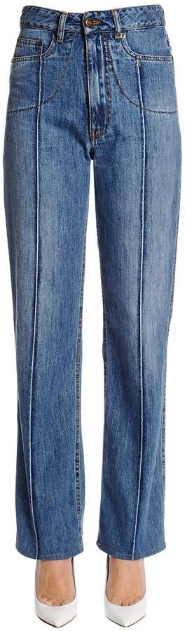 Maison Margiela High Waist Straight Cotton Denim Jeans