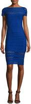 Herve Leger Bateau-Neck Perforated Bandage Dress, Blue