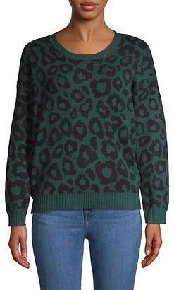 BCBGMAXAZRIA Animal-Print Cotton-Blend Sweater