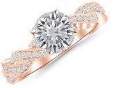 Houston Diamond District 0.88 Carat t.w. 14 Yellow Gold Round Vintage Eternity Love Twisting Split Shan Diamond Engagement Ring With Milgrain VS1-VS2