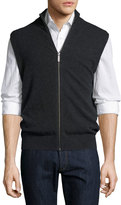 Neiman Marcus Cashmere Stand-Collar Zip-Front Vest, Charcoal