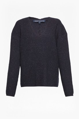 French Connection Two Tone Tweed Knit V Neck Jumper