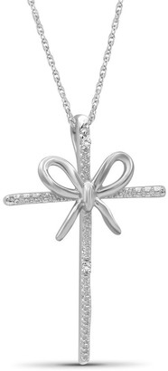 JewelonFire Accent White Diamond Cross & Bow Pendant in Sterling Silver
