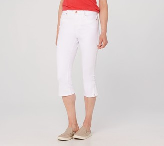 Isaac Mizrahi Live! Regular TRUE DENIM Capri Jeans w/ Hardware -White
