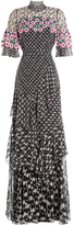 Peter Pilotto Embroidered Silk Maxi Dress with Lace